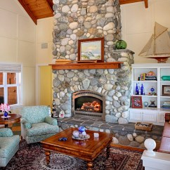 Rattan Side Tables Living Room Blue Rooms Ideas With Stone Fireplace. - Beach Style ...