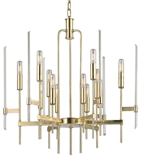 Bari 12 Light Chandelier Aged Brass Finish Clear Glass Modern Chandeliers