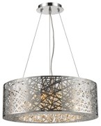 Round Contemporary 12-Light LED Chrome Finish Clear Crystal Chandelier