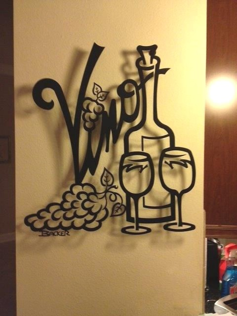 Vino For Two Metal Wall Art Home Decor Transitional Metal