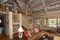 Hand-Hewn skin wall paneling and barnwood ceiling - Rustic ...