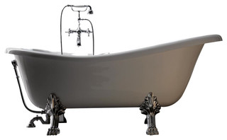 Retro 1051 Glass Resin Bathtub in White with Metal Feet
