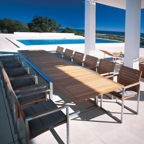 Teak Outdoor Extension Dining Table  Modern  Patio