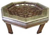 Moroccan Octagonal Center Table Silver Engraved Metal ...