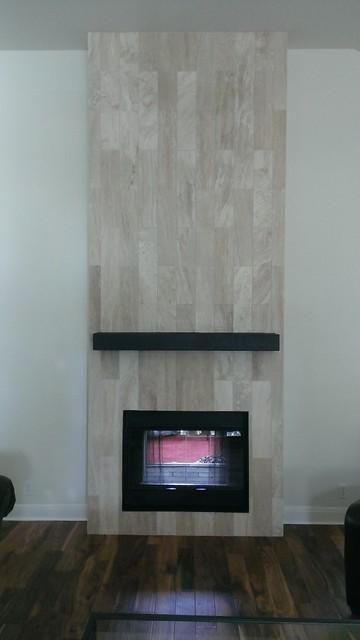 Fireplace  6 x 24 Travertine Plank Tile  Contemporary