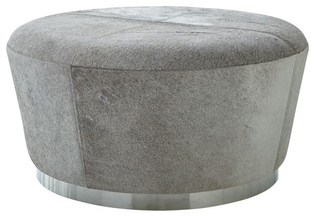 modern minimalist gray hairhide drum ottoman coffee table leather round silver