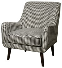 Zoe Houndstooth Fabric Armchair, White and Black ...