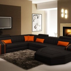 Living Rooms With Black Leather Sofas Asian Inspired Room Decor And Orange Sectional Sofa Chaise - Modern ...