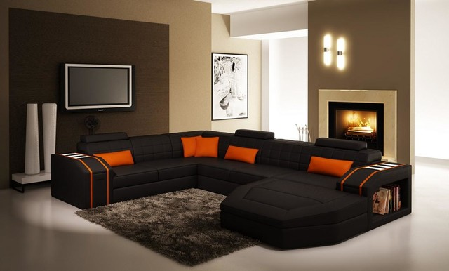 houzz leather sofa living room value city furniture black and orange sectional with chaise - modern ...
