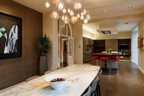 A Custom Chandelier in the Dining Area