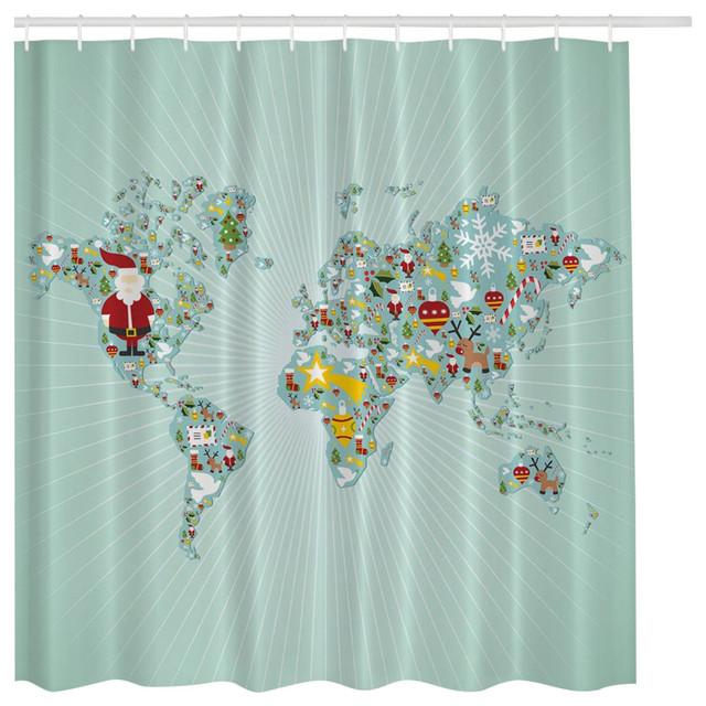 Aqua Blue Santa Claus Christmas World Map Globe Fabric Shower