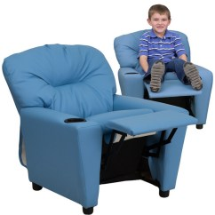 Kids Recliner Chair Ergonomic Amazon Contemporary Light Blue Vinyl Chairs By Furniture Warehouse