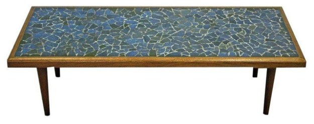 mid-century danish tile top coffee table mosaic