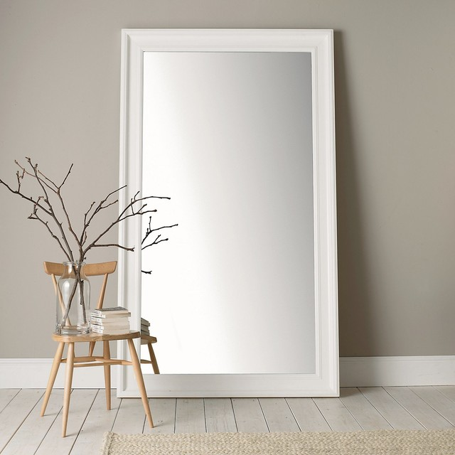 Portland Wide Full Length Mirror White Traditional