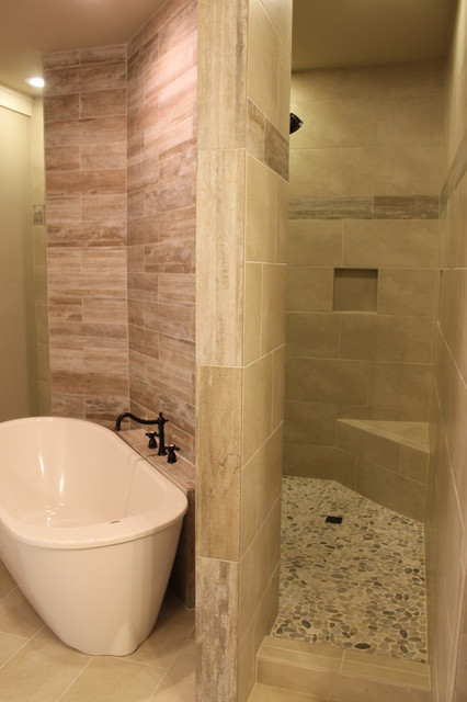 Walk Through Custom Master Shower Transitional
