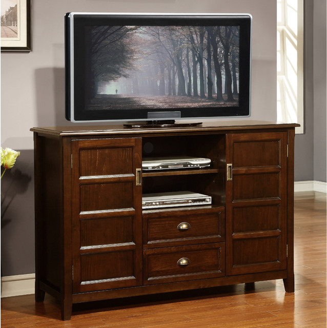Portland Collection Espresso Brown Tall TV Stand  Contemporary  Entertainment Centers And Tv
