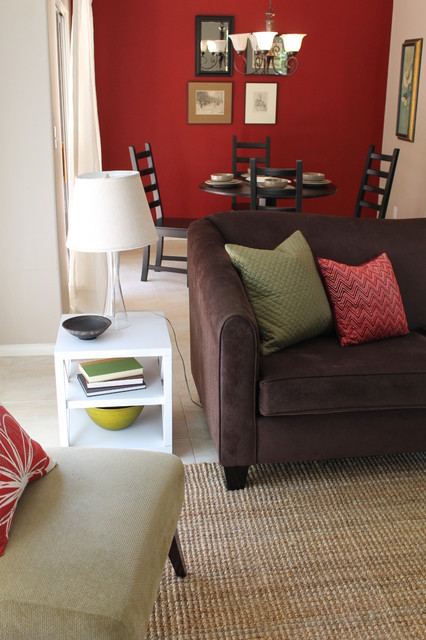 Transitional Style with Sage Green Accents and Red Walls  Contemporary  Living Room  los