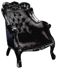 Velvet Baroque Accent Chair, Black victorian-armchairs-and ...