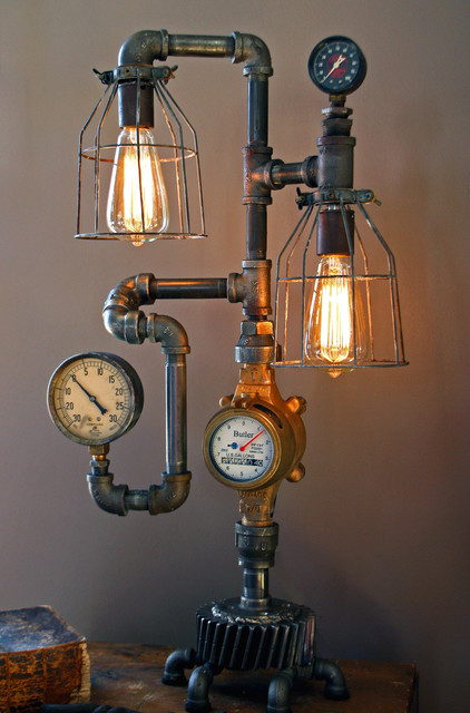 Machine Age Lamps Steampunk Gear Steam Gauge  Eclectic