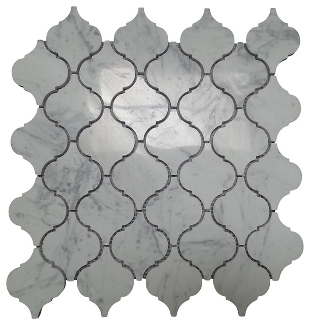carrara white marble polished arabesque lantern tile 12 x12 sheet