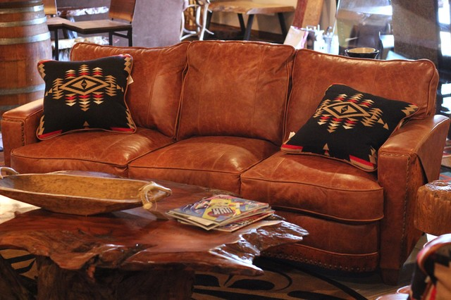 houzz leather sofa living room pictures over couch and hair on hide - rustic ...