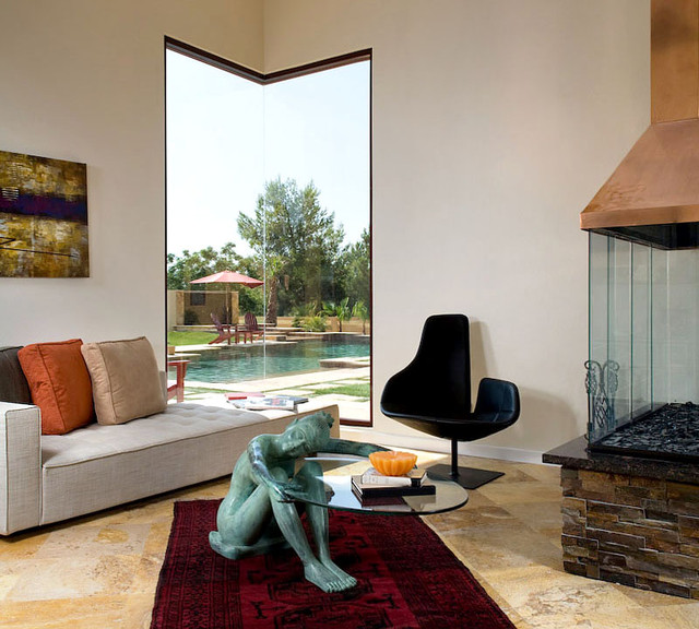 rustic leather living room furniture interior lighting design for corner window overlooking the pool - contemporary ...