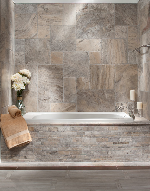 Brushed Travertine Bath  Traditional  Bathroom  Atlanta