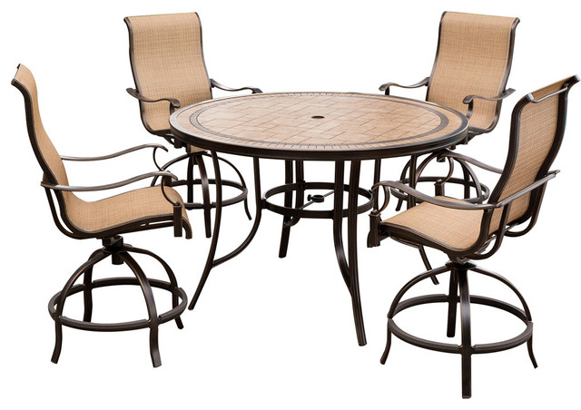 monaco 5 piece high dining bar set with 56 tile top table