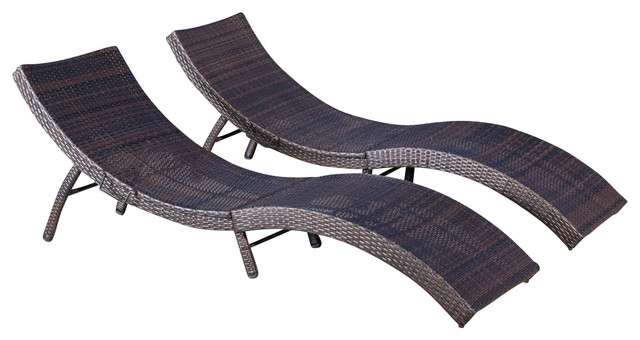 folding chaise lounge chair outdoor home theater bean bag chairs maureen multibrown pe wicker set of 2
