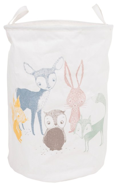"""Best Friends Laundry Basket, Multicolored and White, 14.8""""x20.8"""""""