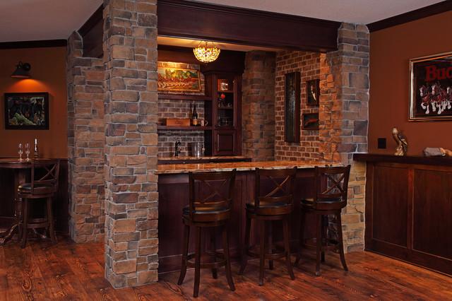 Irish Pub Style Basement Finish  Rustic  Home Bar