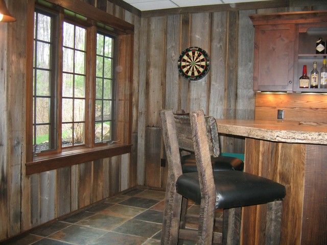 Bar styed as pub  Rustic  Basement  Cleveland  by