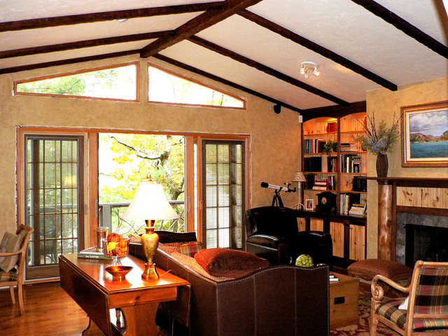 Timber Faux Beam Ceiling Design  Family Room  New York