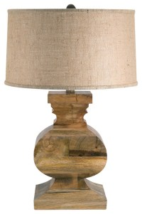 Natural Curved Block Solid Wood Table Lamp - Traditional ...