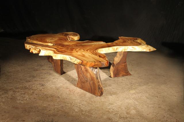 Hawaiian Monkey Pod Coffee Table  Contemporary  Coffee