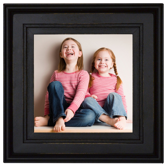 Square Black Picture Frame 8X8 Solid Poplar Wood With