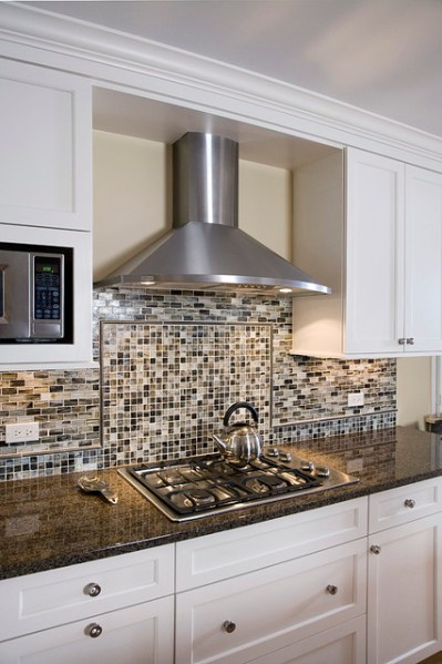 in a kitchen range hoods chimney Kitchen Chimney Hood & Backsplash Detail - Contemporary - Kitchen - Chicago - by Great Rooms