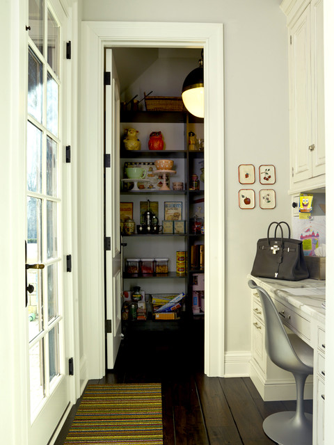 French Country  custom built pantry with desk next to