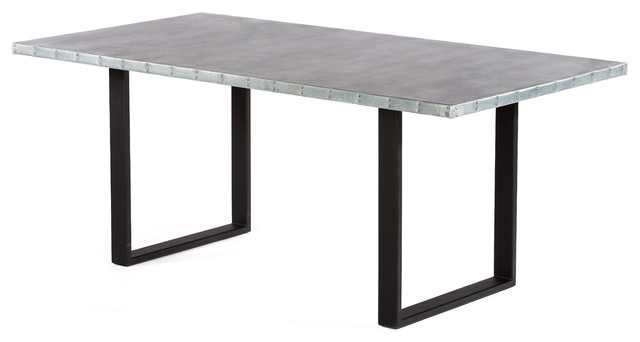 zinc kitchen table refurbished cabinets maddox top dining industrial tables by kingston krafts