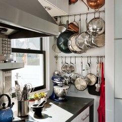 Kitchen Pot Rack Copper Pendant Light 10 Storage Solutions For Pots And Pans Seacoast Rustic Modern
