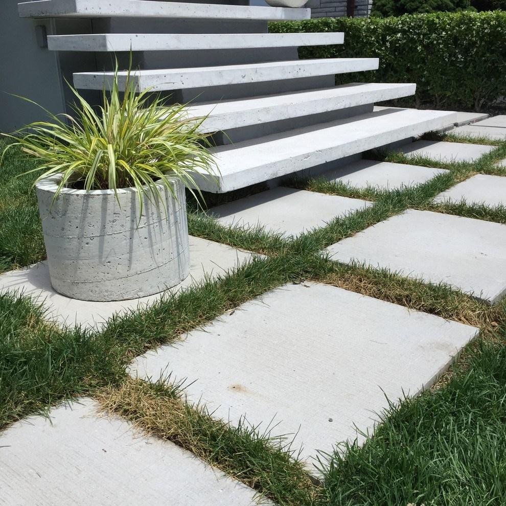 Floating Concrete Steps Modern Landscape Toronto By Tvelt | Floating Concrete Steps Designs | Exterior | Landscape | House | Sidewalk | Cement