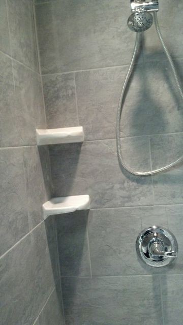 kitchen towel hooks decorative design ideas for small kitchens stone shower with white corner shelves - traditional ...