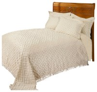 Diamond Tufted Chenille Bedspread and Pillow Sham Set ...
