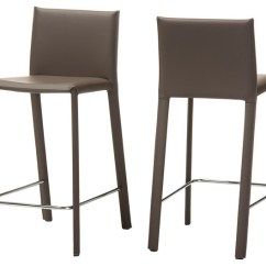 Upholstered Counter Height Chairs Dining Chair Covers Ikea Australia Crawford Leather Stool Taupe Set Of 2 Contemporary Bar Stools And By Baxton Studio