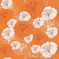 Tangerine Floral Wall Mural - Contemporary - Wallpaper