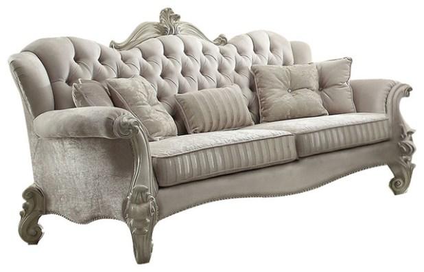 Versailles Velvet Sofa With 5 Pillows Ivory And Bone White Finish