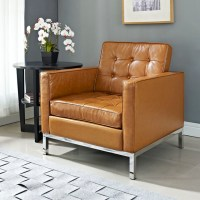 Florence Style Tan Leather Armchair - Midcentury ...