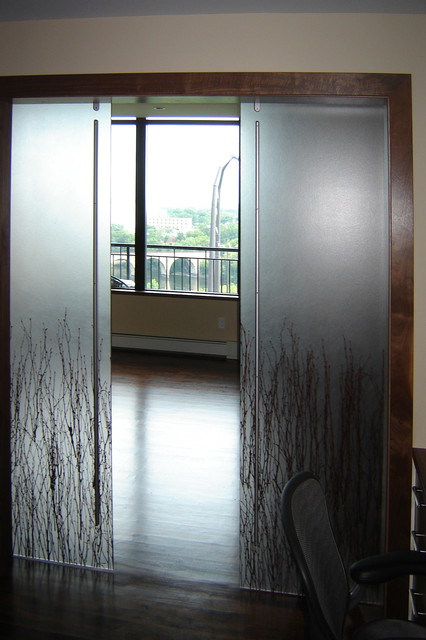 Shoji Door Barn Door Sliding Door  Contemporary  Home Theater  Minneapolis