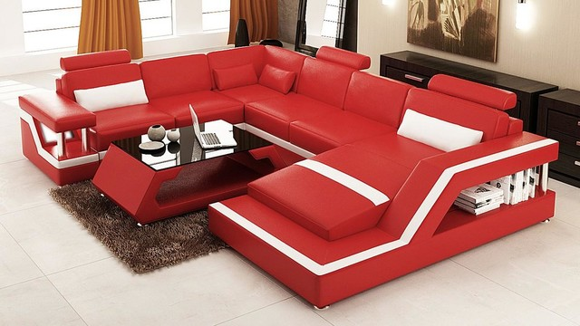 Red And White Bonded Leather Sectional Sofa With Chaise Modern : white bonded leather sectional sofa - Sectionals, Sofas & Couches