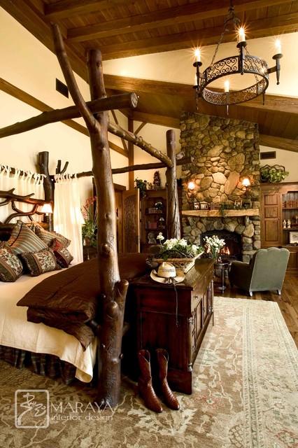 Mountain Home Master Bedroom With Log Bed Farmhouse Bedroom Santa Barbara By Maraya